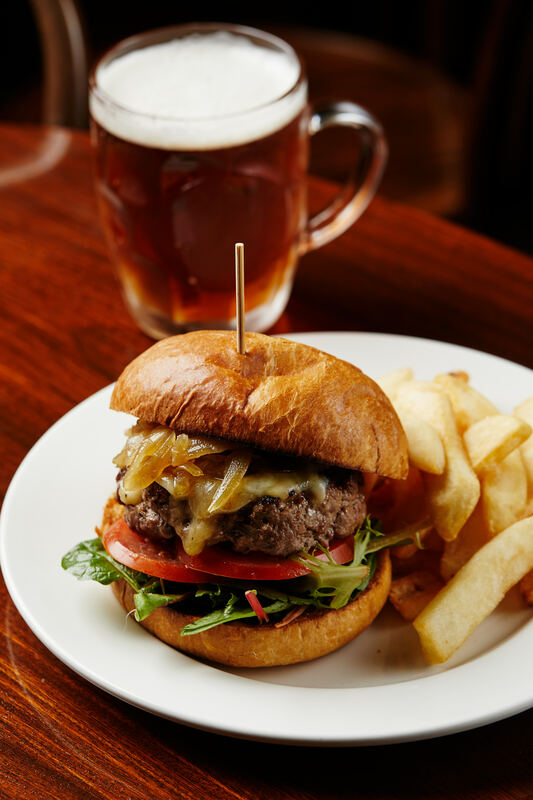 The Charles Dickens Tavern beef burger with chips